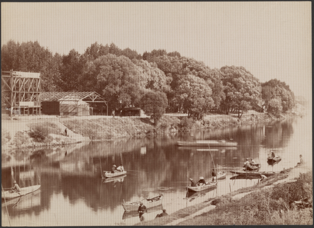 [Men fishing on river]; Unknown maker, French; about 1875–1885; Albumen silver print; 16.3 × 22.6 cm (6 7/16 × 8 7/8 in.); 84.XX.1436.12; The J. Paul Getty Museum, Los Angeles; Rights Statement: No Copyright - United States