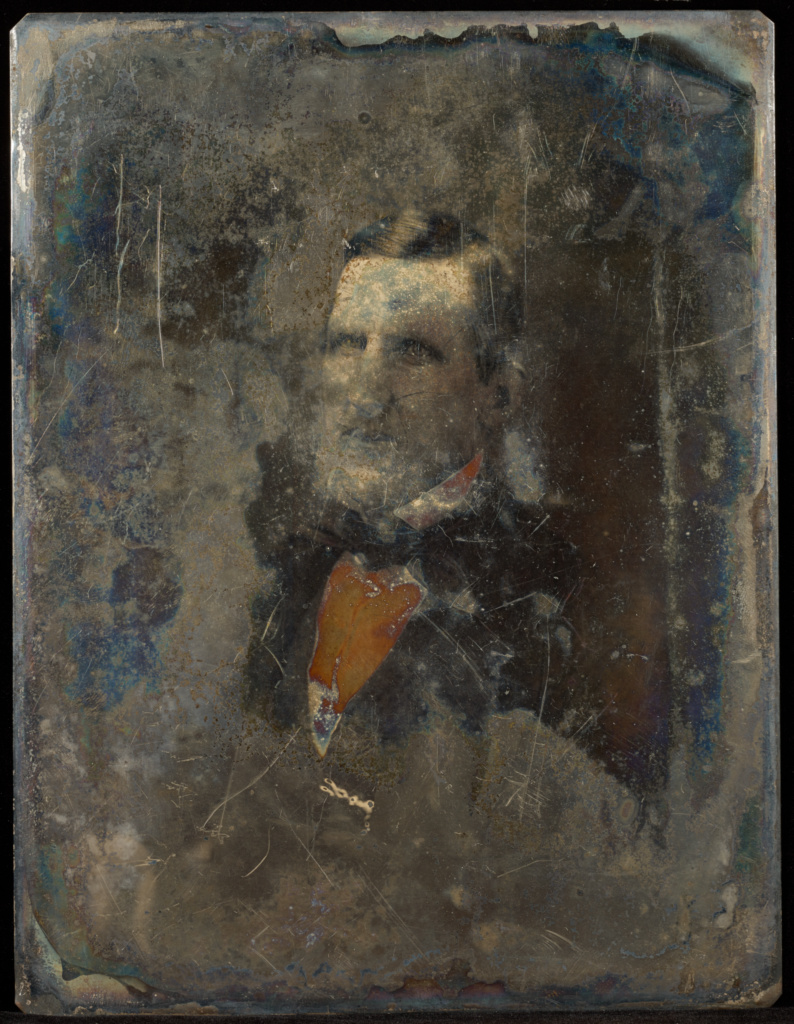 [Portrait of a man]; Jacob Byerly (American, 1807 - 1883); about 1855; Daguerreotype, hand-colored; 84.XT.1563.15; Rights Statement: No Copyright - United States