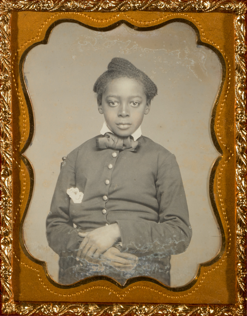 [Portrait of a Child]; Unknown maker, American; about 1857–1858; Hand-colored daguerreotype; 5.2 × 4 cm (2 1/16 × 1 9/16 in.); 84.XT.1582.18; The J. Paul Getty Museum, Los Angeles; Rights Statement: No Copyright - United States