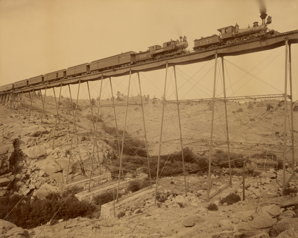 Dale Creek Bridge, Union Pacific Railway; William Henry Jackson (American, 1843 - 1942); 1885; Albumen silver print; 43 × 53.7 cm (16 15/16 × 21 1/8 in.); 85.XM.5.34; The J. Paul Getty Museum, Los Angeles; Rights Statement: No Copyright - United States