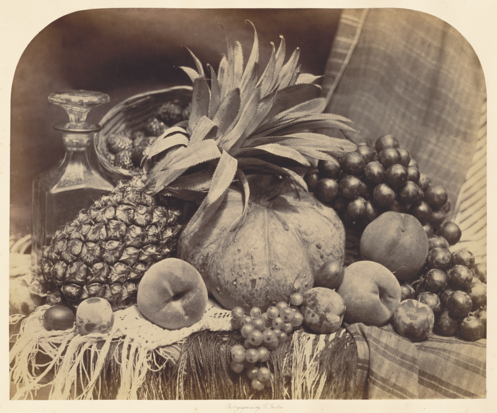 [Still Life with Fruit and Decanter]; Roger Fenton (English, 1819 - 1869); London, England; 1860; Albumen silver print; 35.4 × 43.2 cm (13 15/16 × 17 in.); 85.XM.354.4; The J. Paul Getty Museum, Los Angeles; Rights Statement: No Copyright - United States