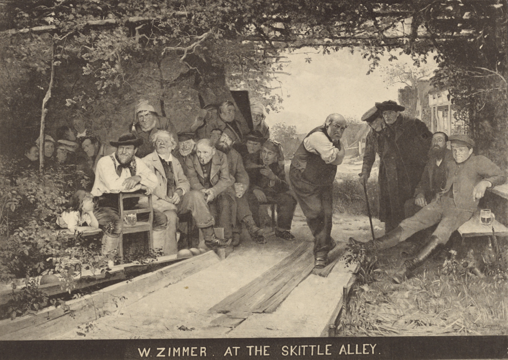 W. Zimmer - At the Skittle Alley; Unknown; late 19th century; Collotype; 17.9 × 25.2 cm (7 1/16 × 9 15/16 in.); 85.XP.360.100; The J. Paul Getty Museum, Los Angeles; Rights Statement: No Copyright - United States