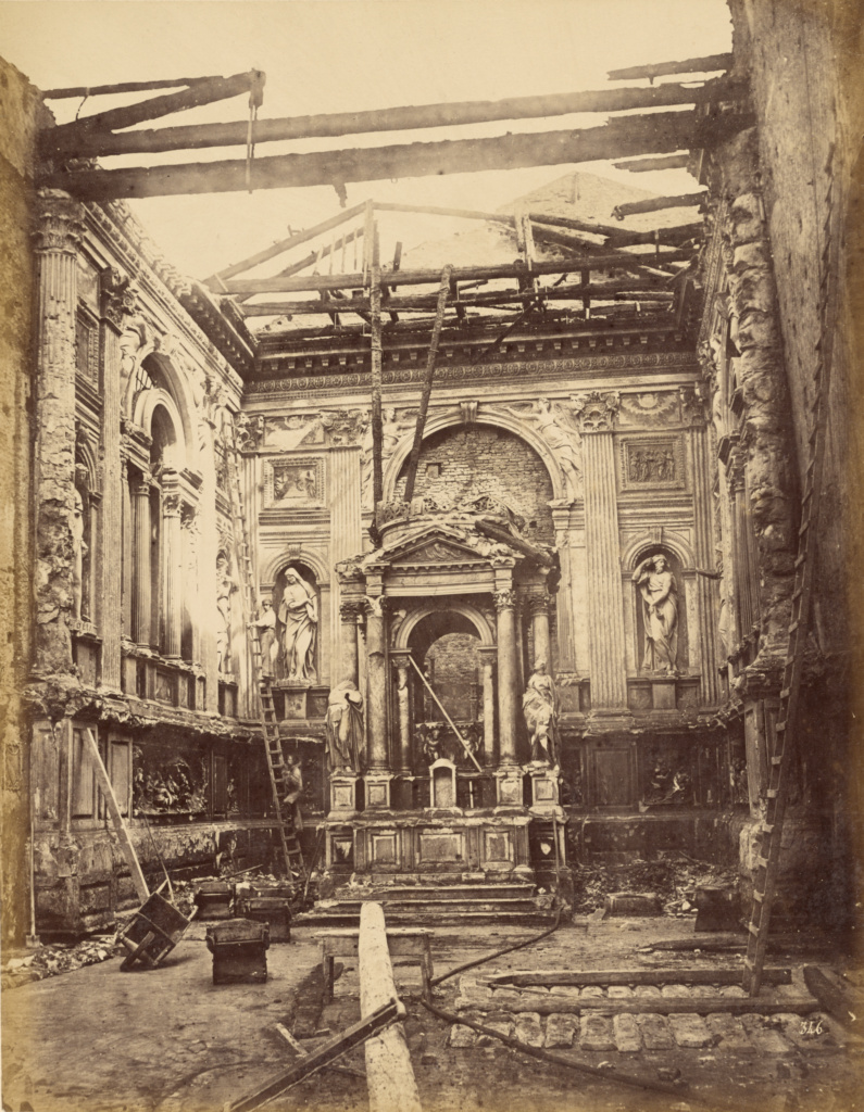 [Interior of a ruined building]; Unknown; about 1870–1885; Albumen silver print; 33.7 × 26.2 cm (13 1/4 × 10 5/16 in.); 86.XP.664.1; The J. Paul Getty Museum, Los Angeles; Rights Statement: No Copyright - United States