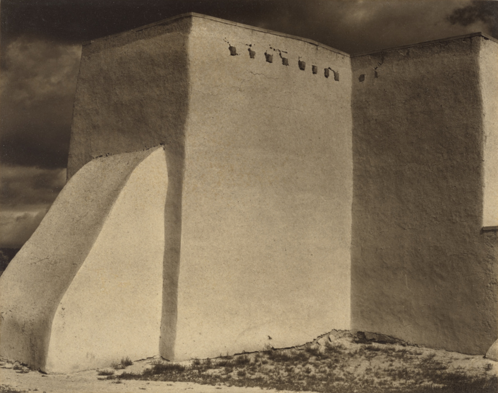 Ranchos de Taos Church, New Mexico; Paul Strand (American, 1890 - 1976); 1931; Platinum print; 11.8 × 14.9 cm (4 5/8 × 5 7/8 in.); 86.XM.686.1; The J. Paul Getty Museum, Los Angeles; Rights Statement: In Copyright; Copyright: © Aperture Foundation