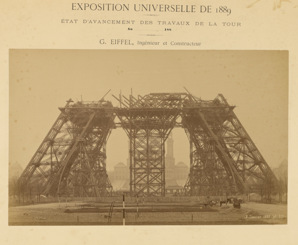 The Eiffel Tower: Piers Nearing The First Level; Louis-Émile Durandelle (French, 1839 - 1917); January 7, 1888; Albumen silver print; 27 × 43.3 cm (10 5/8 × 17 1/16 in.); 87.XM.121.4; The J. Paul Getty Museum, Los Angeles; Rights Statement: No Copyright - United States