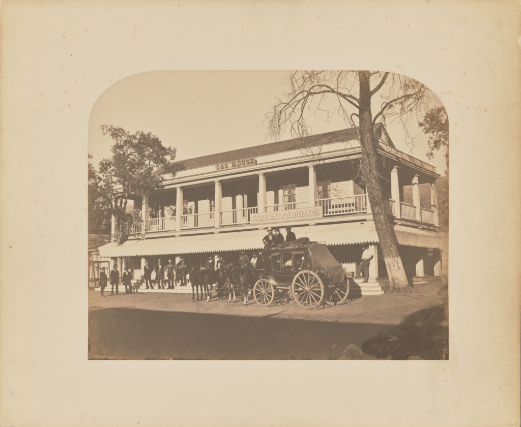 Oso House, Bear Valley, Mariposa County; Carleton Watkins (American, 1829 - 1916); about 1859–1860; Salted paper print; 33.2 × 41.3 cm (13 1/16 × 16 1/4 in.); 84.XM.171.34; Rights Statement: No Copyright - United States