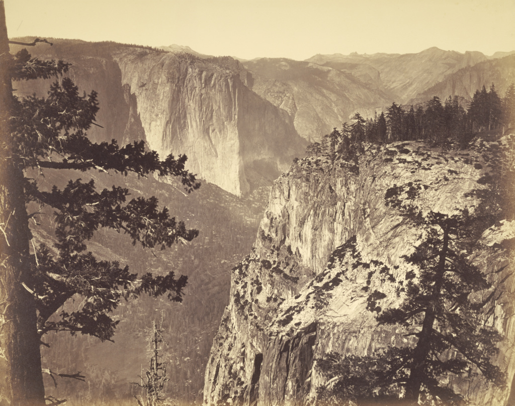 [First View of the Valley]; Carleton Watkins (American, 1829 - 1916); Yosemite, California, United States; about 1866; Albumen silver print; 41.1 × 52.4 cm (16 3/16 × 20 5/8 in.); 85.XM.11.1; The J. Paul Getty Museum, Los Angeles; Rights Statement: No Copyright - United States
