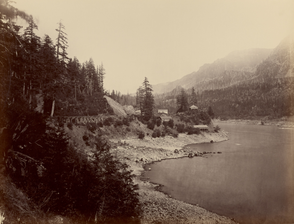 [The Middle Block House, Columbia River]; Carleton Watkins (American, 1829 - 1916); Oregon, United States; negative 1867; print 1868–1870; Albumen silver print; 40 × 52.4 cm (15 3/4 × 20 5/8 in.); 85.XM.242.2; The J. Paul Getty Museum, Los Angeles; Rights Statement: No Copyright - United States