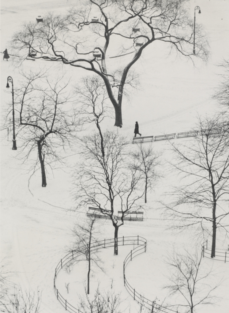 Washington Square, Winter; André Kertész (American, born Hungary, 1894 - 1985); New York, New York, United States; 1954; Gelatin silver print; 24.6 × 17.9 cm (9 11/16 × 7 1/16 in.); 84.XM.193.22; The J. Paul Getty Museum, Los Angeles; Rights Statement: In Copyright; Copyright: © Estate of André Kertész