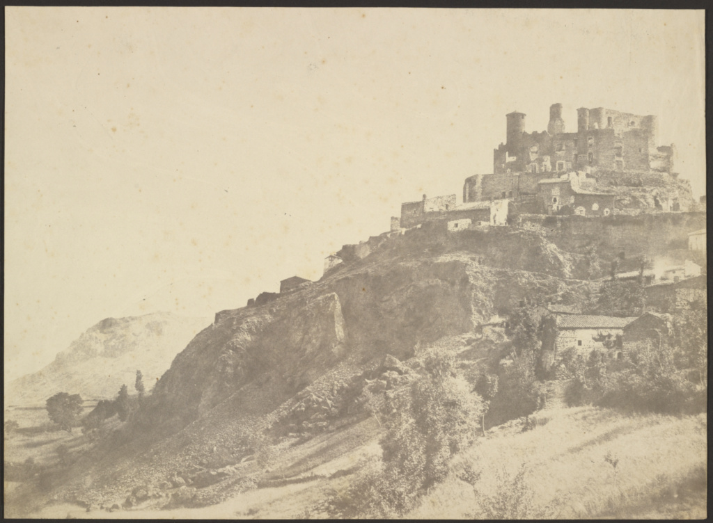 [Landscape with Hilltop Village]; Édouard Baldus (French, born Germany, 1813 - 1889); France; 1850–1855; Salted paper print; 32.1 × 44 cm (12 5/8 × 17 5/16 in.); 84.XM.348.20; The J. Paul Getty Museum, Los Angeles; Rights Statement: No Copyright - United States