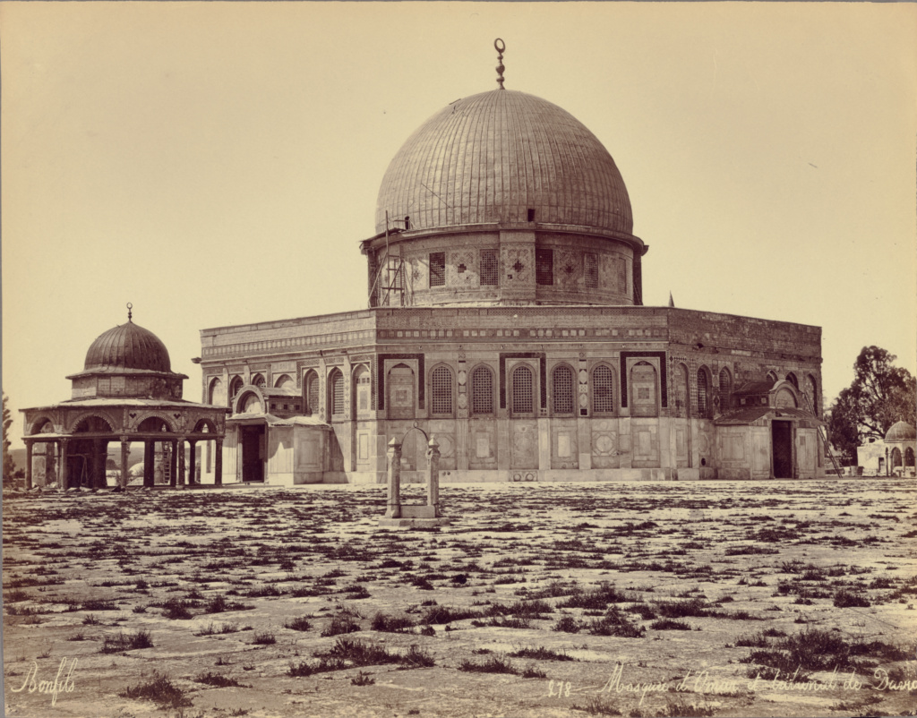 Mosque d'Omar et tribunal de David; Félix Bonfils (French, 1831 - 1885); 1870–1879; Albumen silver print; 21.9 × 27.9 cm (8 5/8 × 11 in.); 84.XM.1021.1; Rights Statement: No Copyright - United States