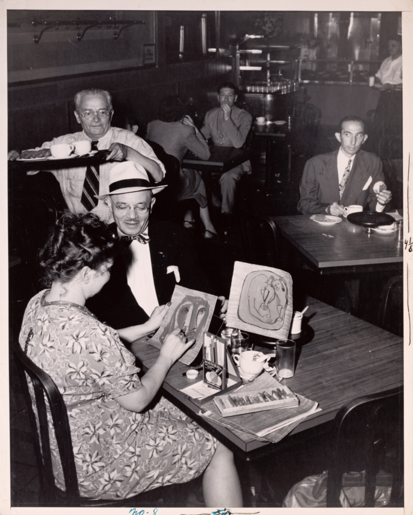 Waldorf Cafeteria, Greenwich Village; Weegee (Arthur Fellig) (American, born Austria, 1899 - 1968); New York, New York, United States; before 1946; Gelatin silver print; 34.1 × 27.1 cm (13 7/16 × 10 11/16 in.); 87.XM.65.7; The J. Paul Getty Museum, Los Angeles; Rights Statement: In Copyright; Copyright: © International Center of Photography