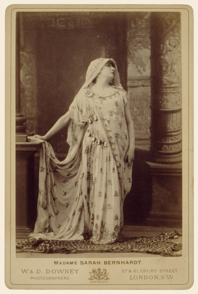Sarah Bernhardt in the role of Racine's Phèdre; W. & D. Downey (British, active 1860 - 1920s); London, England; about 1874; Albumen silver print; 14.1 × 9.5 cm (5 9/16 × 3 3/4 in.); 87.XA.71.3; The J. Paul Getty Museum, Los Angeles; Rights Statement: No Copyright - United States