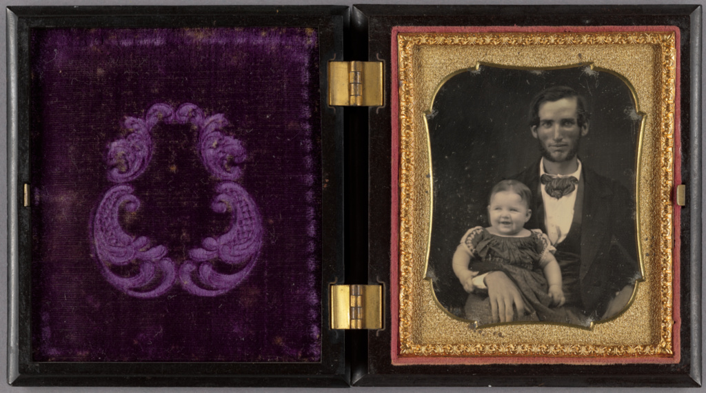 Portrait of a Father and Smiling Child; Unknown maker, American; about 1855; Daguerreotype; 84.XT.1578.3; The J. Paul Getty Museum, Los Angeles; Rights Statement: No Copyright - United States