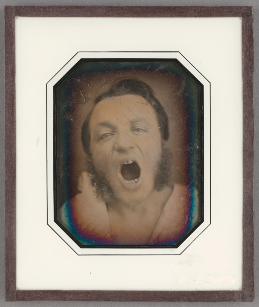 Man with Open Mouth; Unknown maker, French; about 1852; Daguerreotype, hand-colored; 9.4 × 7.3 cm (3 11/16 × 2 7/8 in.); 84.XT.402.4; The J. Paul Getty Museum, Los Angeles; Rights Statement: No Copyright - United States