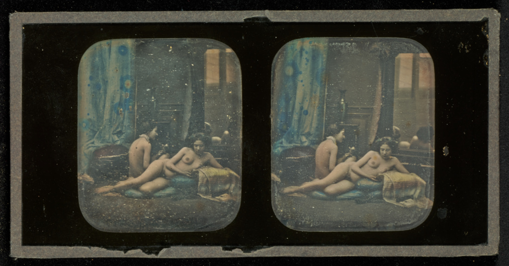 [Two nudes in boudoir studio setting]; Louis Camille d'Olivier (French, 1827 - after 1870); 1853 - 1854; Stereograph, daguerreotype, hand-colored; 6.7 × 5.7 cm (2 5/8 × 2 1/4 in.); 84.XT.405.4; The J. Paul Getty Museum, Los Angeles; Rights Statement: No Copyright - United States
