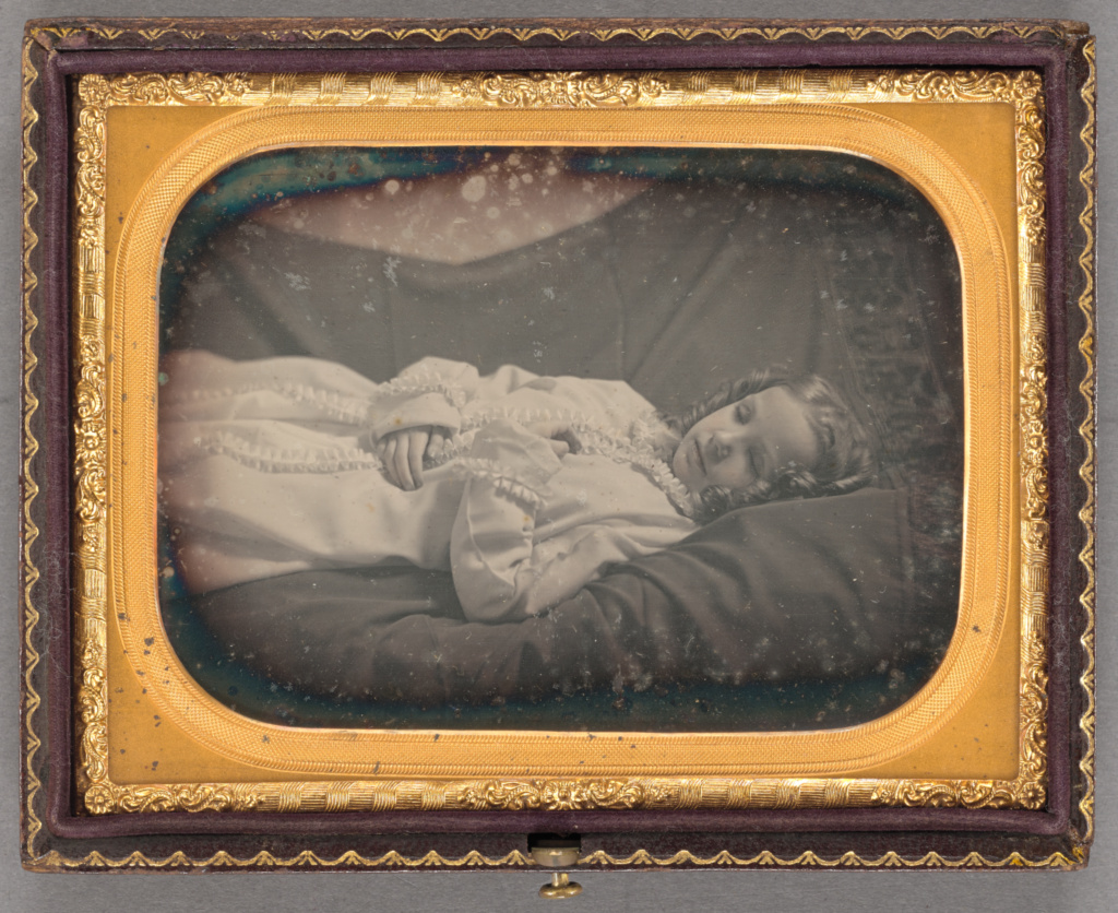 [Postmortem portrait of a young girl]; Unknown maker, American; about 1850; Daguerreotype, hand-colored; 84.XT.441.4; Rights Statement: No Copyright - United States