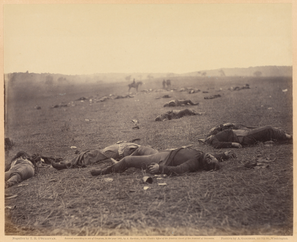 A Harvest of Death, Gettysburg, Pennsylvania; Timothy H. O'Sullivan (American, about 1840 - 1882), Print by Alexander Gardner (American, born Scotland, 1821 - 1882); July 4, 1863; Albumen silver print; 17.8 × 22.1 cm (7 × 8 11/16 in.); 84.XO.1232.1.36; Rights Statement: No Copyright - United States