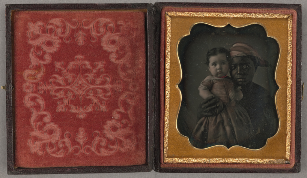 Portrait of a Nurse and a Child; Unknown maker, American; about 1850; Daguerreotype, hand-colored; 6.2 × 4.8 cm (2 7/16 × 1 7/8 in.); 84.XT.172.4; Rights Statement: No Copyright - United States