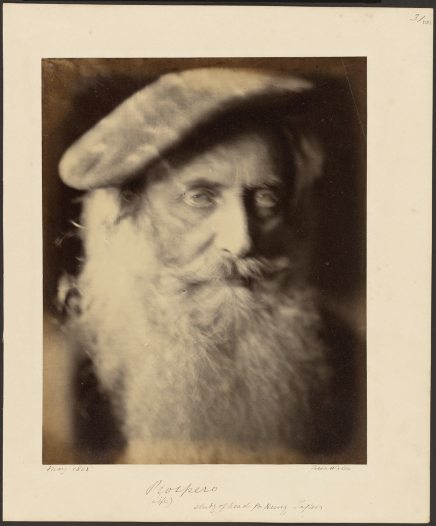 Prospero; Julia Margaret Cameron (British, born India, 1815 - 1879); Freshwater, Isle of Wight, England; May 1865; Albumen silver print; 26.7 × 21.3 cm (10 1/2 × 8 3/8 in.); 84.XZ.186.32; The J. Paul Getty Museum, Los Angeles; Rights Statement: No Copyright - United States