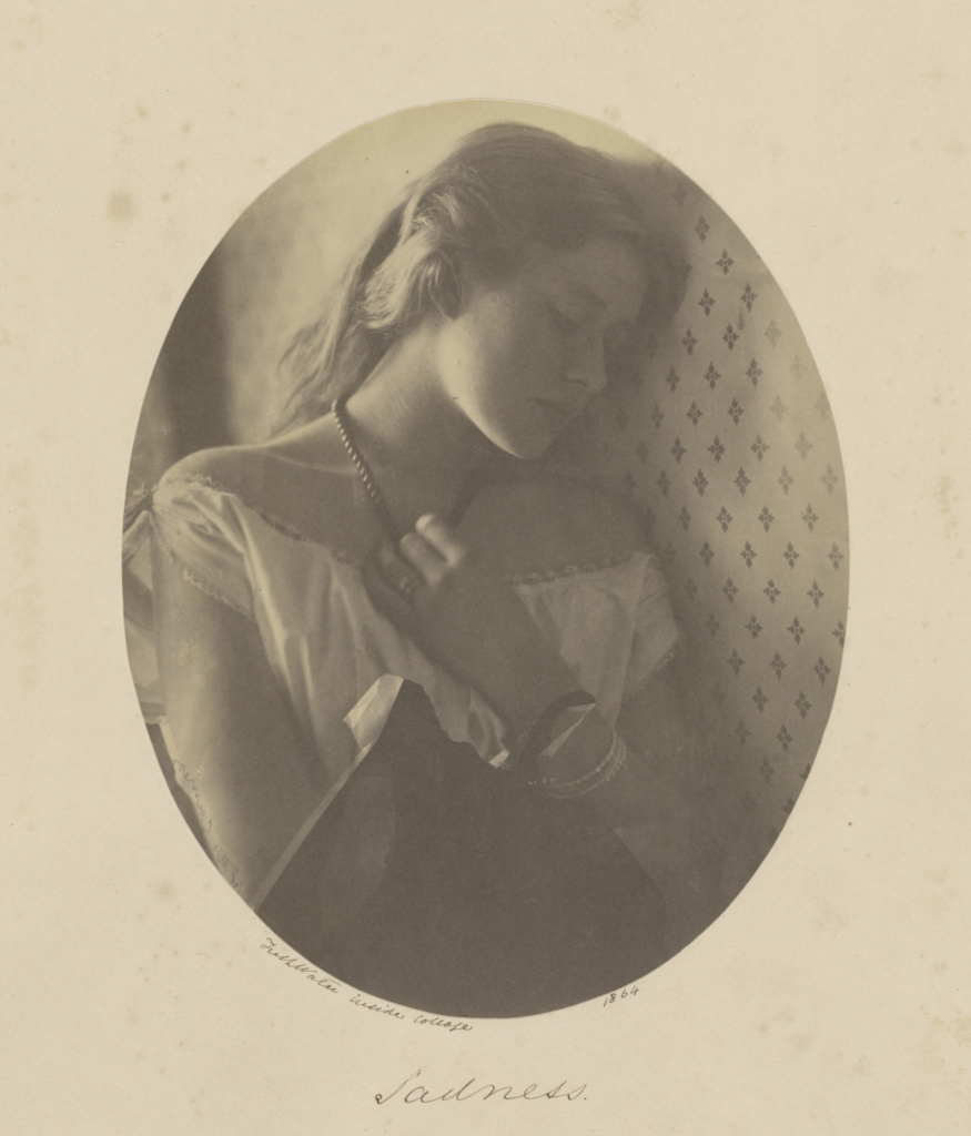 Sadness; Julia Margaret Cameron (British, born India, 1815 - 1879); Freshwater, Isle of Wight, England; 1864; Albumen silver print; 22.2 × 17.6 cm (8 3/4 × 6 15/16 in.); 84.XZ.186.52; The J. Paul Getty Museum, Los Angeles; Rights Statement: No Copyright - United States