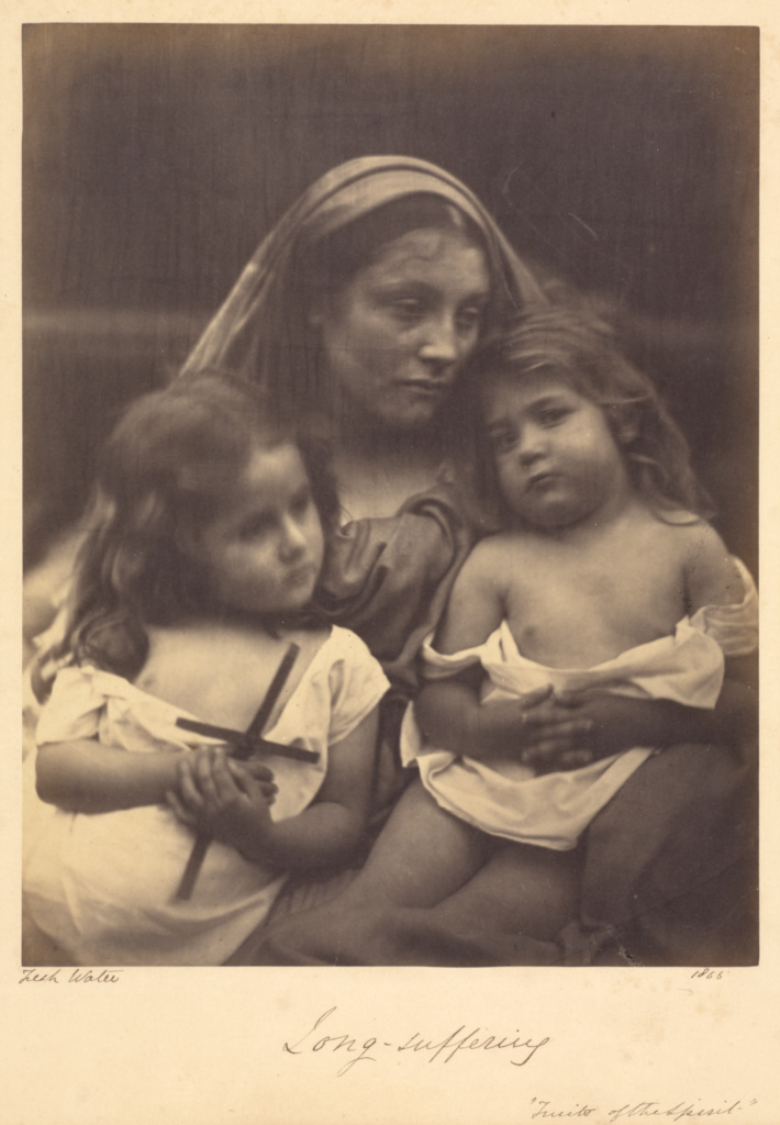 Long - suffering; Julia Margaret Cameron (British, born India, 1815 - 1879); Freshwater, Isle of Wight, England; 1865; Albumen silver print; 25.4 × 19.8 cm (10 × 7 13/16 in.); 84.XZ.186.64; The J. Paul Getty Museum, Los Angeles; Rights Statement: No Copyright - United States