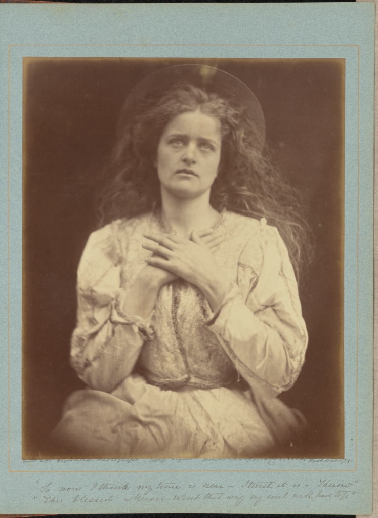 """""""So now I think my time is near - I trust it is - I know, the blessed Music went that way my soul will have to go""""; Julia Margaret Cameron (British, born India, 1815 - 1879); Freshwater, Isle of Wight, England; 1875; Albumen silver print; 34.1 × 27.5 cm (13 7/16 × 10 13/16 in.); 84.XO.732.1.2.4; The J. Paul Getty Museum, Los Angeles; Rights Statement: No Copyright - United States"""