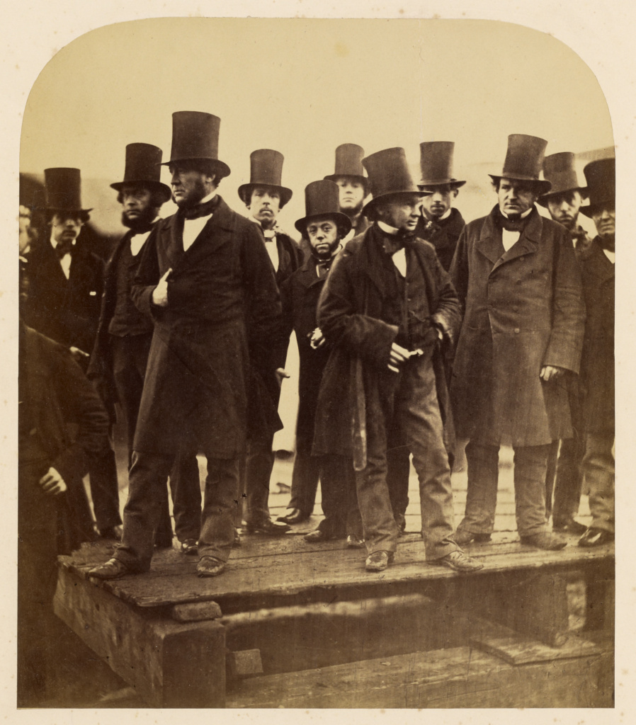 "I.K. Brunel and Others Observing the ""Great Eastern"" Launch Attempt; Robert Howlett (British, 1831 - 1858); London, England; November 1857; Albumen silver print; 24.8 × 21.4 cm (9 3/4 × 8 7/16 in.); 89.XM.68.2; The J. Paul Getty Museum, Los Angeles; Rights Statement: No Copyright - United States"