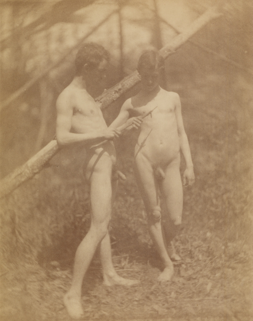 [Two male nudes]; Thomas Eakins (American, 1844 - 1916); about 1884; Albumen silver print; 11.7 × 9.3 cm (4 5/8 × 3 11/16 in.); 84.XM.811.2; The J. Paul Getty Museum, Los Angeles; Rights Statement: No Copyright - United States