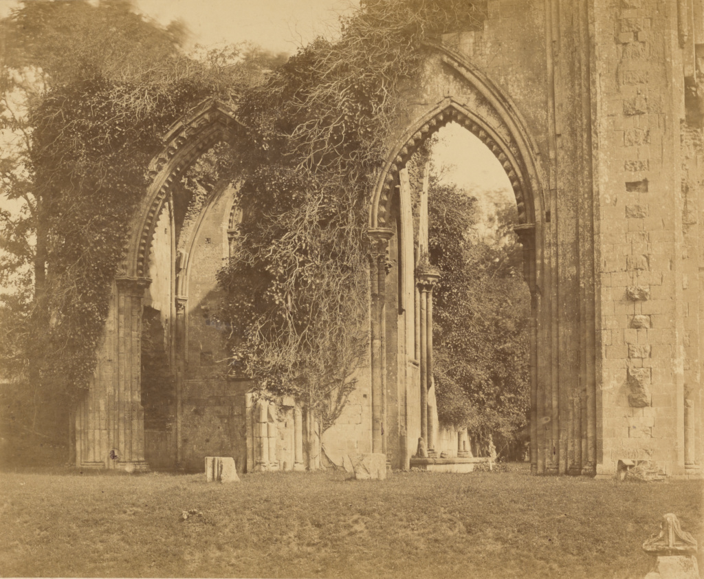Glastonbury Abbey, Arches of the North Aisle; Roger Fenton (English, 1819 - 1869); Glastonbury, England; 1858; Albumen silver print; 35.2 × 43.2 cm (13 7/8 × 17 in.); 84.XM.504.25; The J. Paul Getty Museum, Los Angeles; Rights Statement: No Copyright - United States