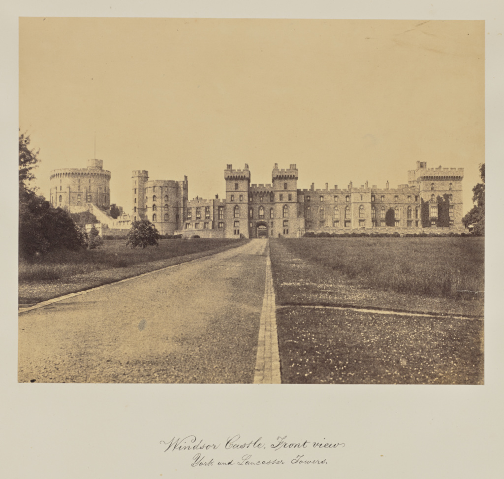 Windsor Castle, Front View.  York and Lancaster Towers.; Arthur James Melhuish (English, 1829 - 1895); 1856; Albumen silver print; 21.6 × 27.6 cm (8 1/2 × 10 7/8 in.); 84.XO.735.1.70; Rights Statement: No Copyright - United States