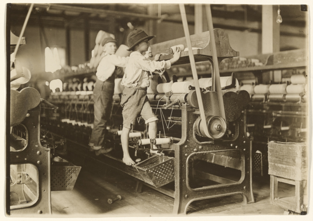 [Doffer Boys, Macon, Georgia]; Lewis W. Hine (American, 1874 - 1940); Macon, Georgia, United States; January 1909; Gelatin silver print; Sheet: 12.2 × 17.4 cm (4 13/16 × 6 7/8 in.); 84.XM.221.7; The J. Paul Getty Museum, Los Angeles; Rights Statement: No Copyright - United States