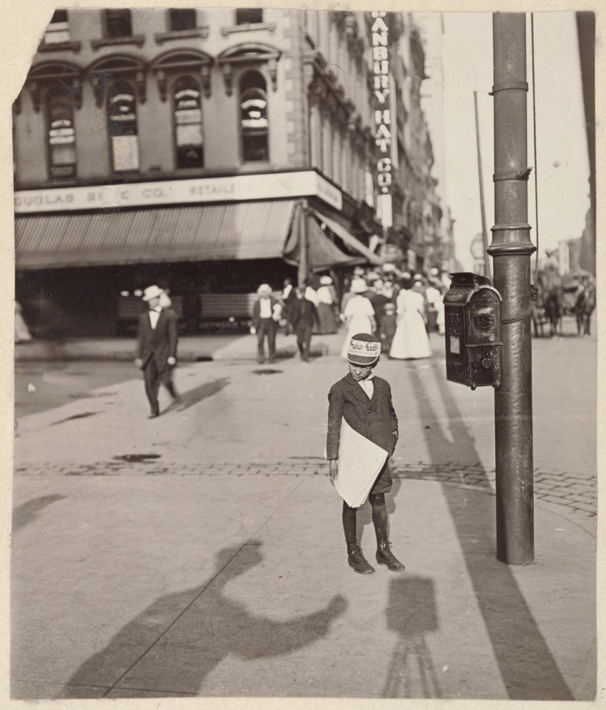 [Self-Portrait with Newsboy]; Lewis W. Hine (American, 1874 - 1940); Indianapolis, Indiana, United States; 1908; Gelatin silver print; 13.8 × 11.8 cm (5 7/16 × 4 5/8 in.); 84.XM.967.1; The J. Paul Getty Museum, Los Angeles; Rights Statement: No Copyright - United States