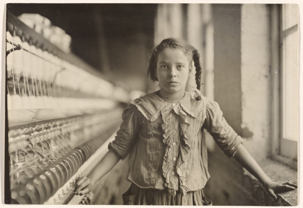 Cotton-Mill Worker, North Carolina; Lewis W. Hine (American, 1874 - 1940); 1908; Gelatin silver print; Sheet: 11.7 × 16.7 cm (4 5/8 × 6 9/16 in.); 84.XM.967.5; Rights Statement: No Copyright - United States