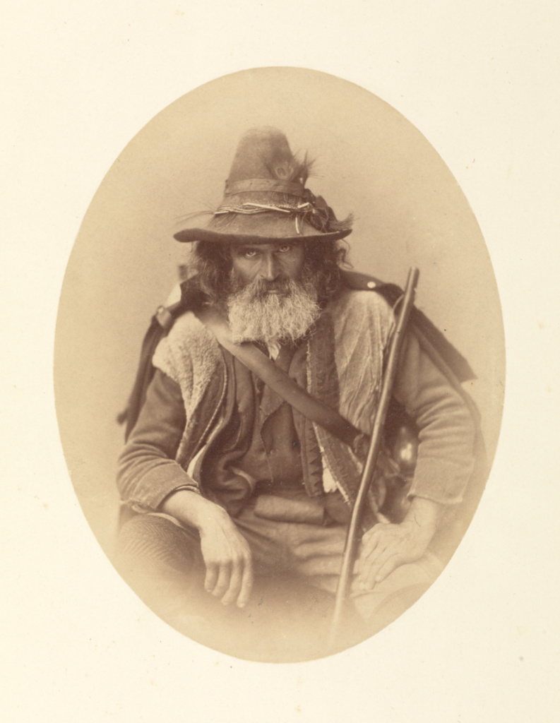 Italian Street Musician (Pifferaro); Gustave Le Gray (French, 1820 - 1884); about 1855; Albumen silver print; 22.2 × 16.8 cm (8 3/4 × 6 5/8 in.); 86.XM.741; Rights Statement: No Copyright - United States