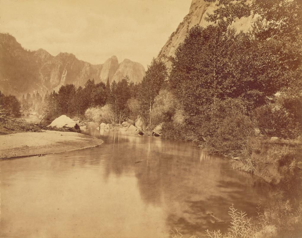 Discovery Rocks.  Valley of the Yosemite.; Eadweard J. Muybridge (American, born England, 1830 - 1904); Yosemite, California, United States; 1872; Albumen silver print; 43 × 54.7 cm (16 15/16 × 21 9/16 in.); 90.XM.55.5; The J. Paul Getty Museum, Los Angeles; Rights Statement: No Copyright - United States
