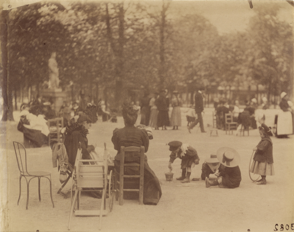 [Women and Children in the Luxembourg Gardens]; Eugène Atget (French, 1857 - 1927); Paris, France; 1898; Albumen silver print; 22.5 × 17.6 cm (8 7/8 × 6 15/16 in.); 90.XM.64.78; The J. Paul Getty Museum, Los Angeles; Rights Statement: No Copyright - United States