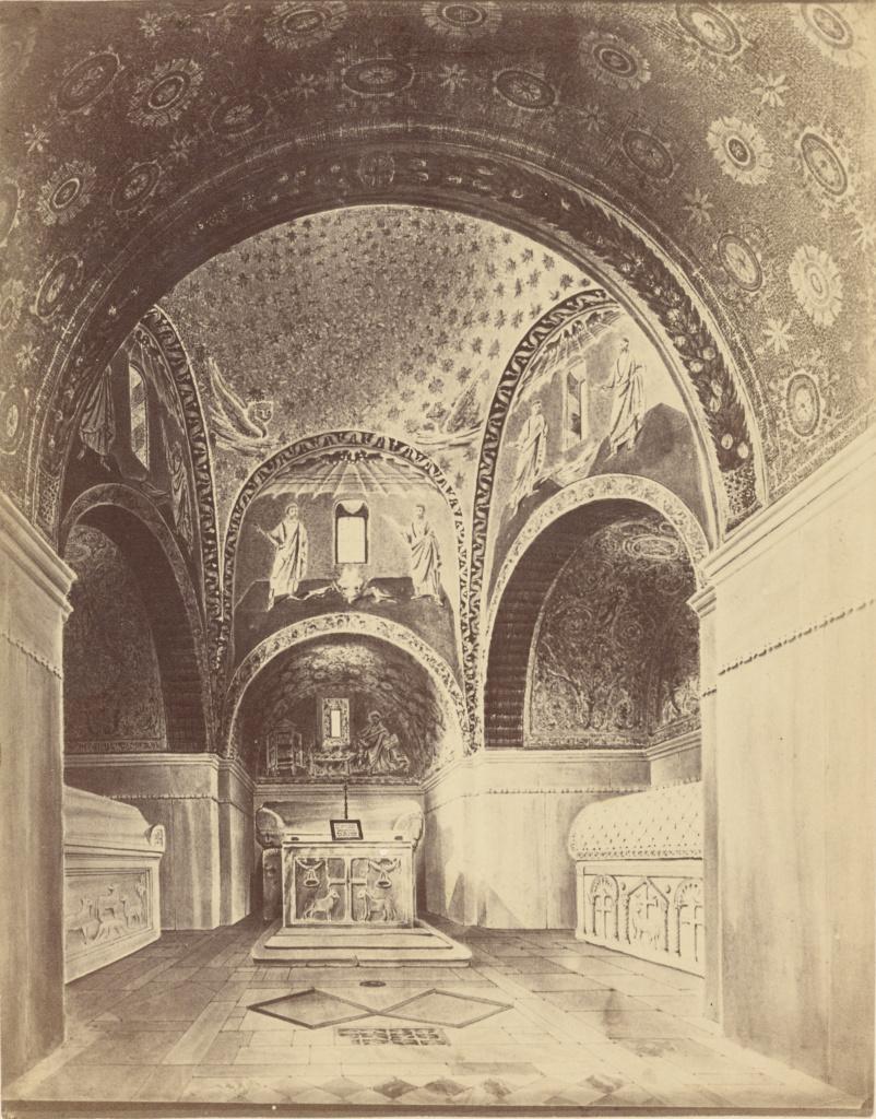 [Mausoleum of Galla Placidia]; Unknown maker, Italian; about 1870–1890; Albumen silver print; 23.5 × 18.3 cm (9 1/4 × 7 3/16 in.); 84.XP.1449.15; Rights Statement: No Copyright - United States