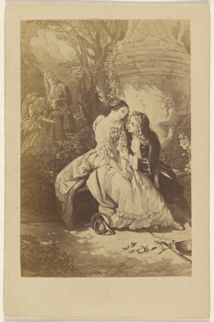 Voltaire et Mselle. Dunoyer [by] Schlesigner.; Unknown; about 1865; Albumen silver print; 84.XD.1426.7; The J. Paul Getty Museum, Los Angeles; Rights Statement: No Copyright - United States