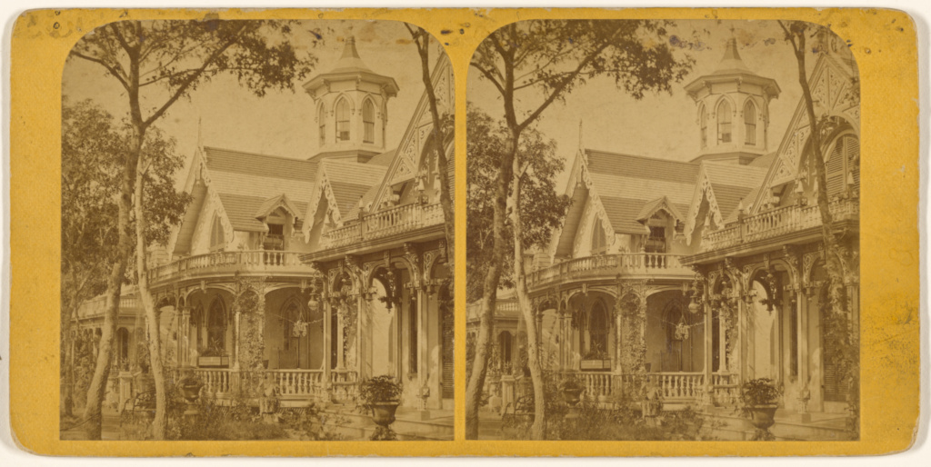 Mrs. Wright's Cottage, Ocean Ave., M[artha's] V[ineyard].; S.F. Adams (American, 1844 - 1876); about 1860–1880; Albumen silver print; 84.XC.979.80; Gift of Weston J. and Mary M. Naef; Rights Statement: No Copyright - United States