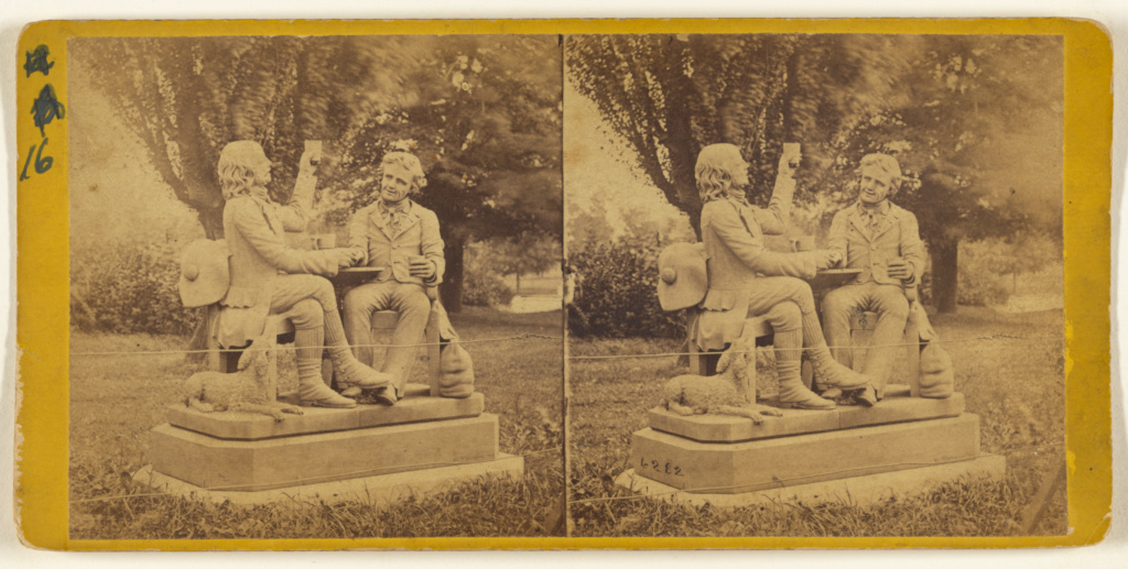 "Central Park, (New York.) Statue of ""Auld Lang Syne,"" near the Casino.; Edward and Henry T. Anthony & Co. (American, founded 1862, merged 1902); about 1863–1866; Albumen silver print; 84.XC.979.1222; Gift of Weston J. and Mary M. Naef; Rights Statement: No Copyright - United States"