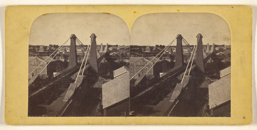[Suspension Bridge]; Deloss Barnum (American, 1825 - 1873); about 1860–1865; Albumen silver print; 84.XC.979.1672; Gift of Weston J. and Mary M. Naef; Rights Statement: No Copyright - United States
