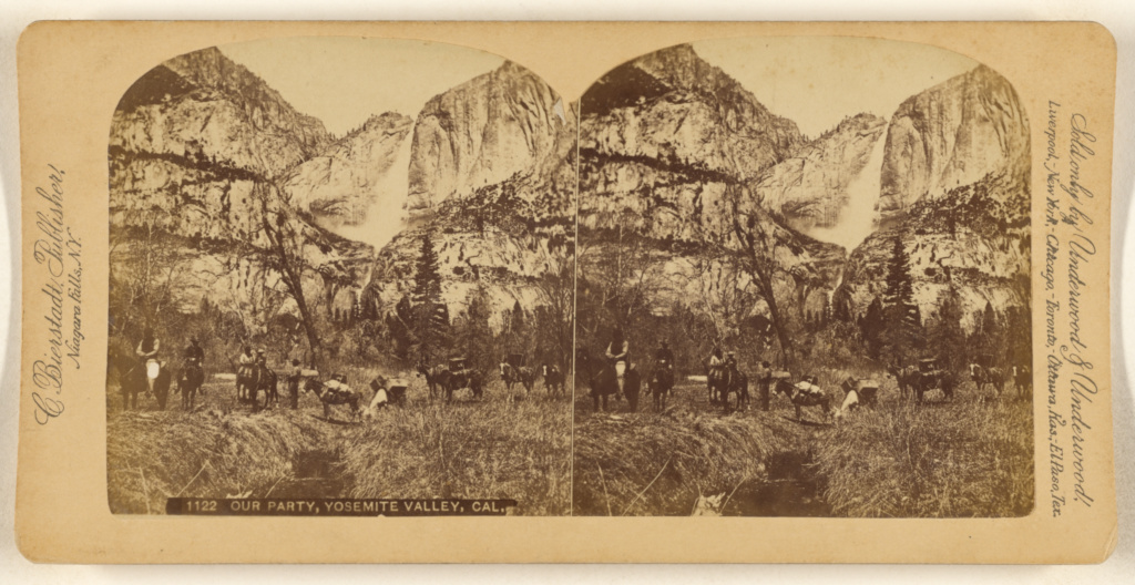 Our Party, Yosemite Valley, Cal.; Charles Bierstadt (American, born Germany, 1819 - 1903); 1880s; Albumen silver print; 84.XC.870.561; The J. Paul Getty Museum, Los Angeles; Rights Statement: No Copyright - United States