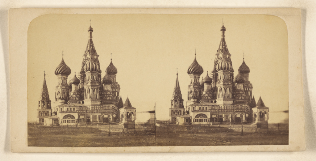 Moscou. Basilique de St. Basile. Church of St. Basil.; J. Daziaro (Russian, active 1870s - 1880s); 1875–1885; Albumen silver print; 84.XC.979.3244; The J. Paul Getty Museum, Los Angeles, Gift of Weston J. and Mary M. Naef; Rights Statement: No Copyright - United States