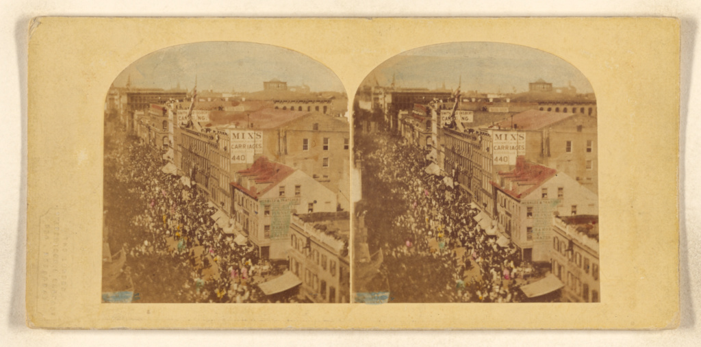 The Atlantic Telegraph Jubilee, New York. View of the Procession in its progress up the Broadway; Attributed to William England (British, 1816 - 1896); 1859; Hand-colored albumen silver print; 84.XC.979.3317; Gift of Weston J. and Mary M. Naef; Rights Statement: No Copyright - United States