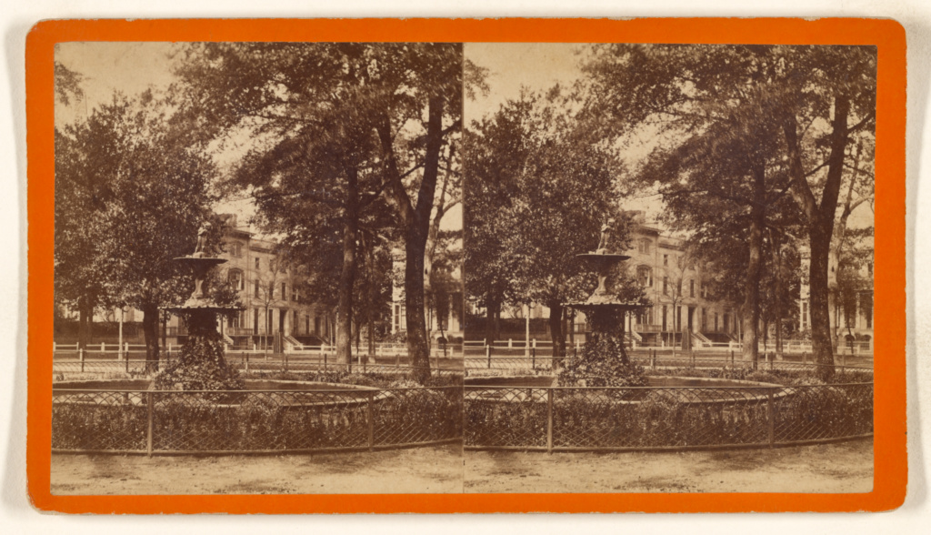 [Chippewa Square, Savannah, Georgia]; O. Pierre Havens (American, 1838 - 1912, active Savannah, Georgia); about 1874; Albumen silver print; 84.XC.979.4270; Gift of Weston J. and Mary M. Naef; Rights Statement: No Copyright - United States