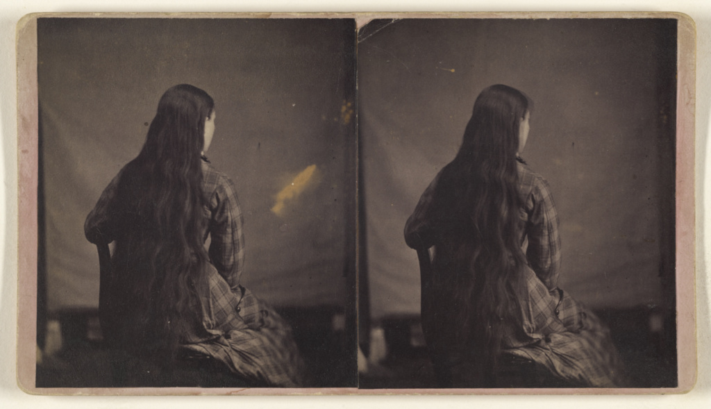 [Woman with extremely long hair seated, back to camera]; F.K. Kittredge (American, active Danville, Vermont 1870s); 1870s; Albumen silver print; 84.XC.873.3327; The J. Paul Getty Museum, Los Angeles; Rights Statement: No Copyright - United States