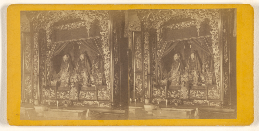 [Chinese Joss House. Figurines of gods.]; Eadweard J. Muybridge (American, born England, 1830 - 1904); about 1870; Albumen silver print; 84.XC.979.7698; The J. Paul Getty Museum, Los Angeles, Gift of Weston J. and Mary M. Naef; Rights Statement: No Copyright - United States