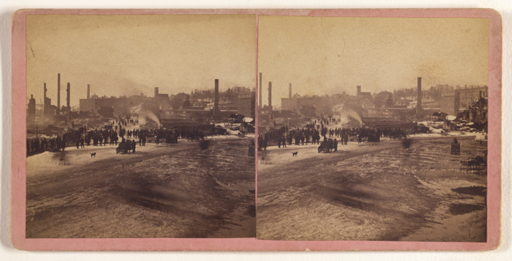 View of the Ruins of the Great Conflagration at Haverhill, Mass., Feb. 17 & 18, 1882.; P.W. Tennant (American, active 1870s - 1880s); February 17-18, 1882; Albumen silver print; 84.XC.873.9290; Rights Statement: No Copyright - United States