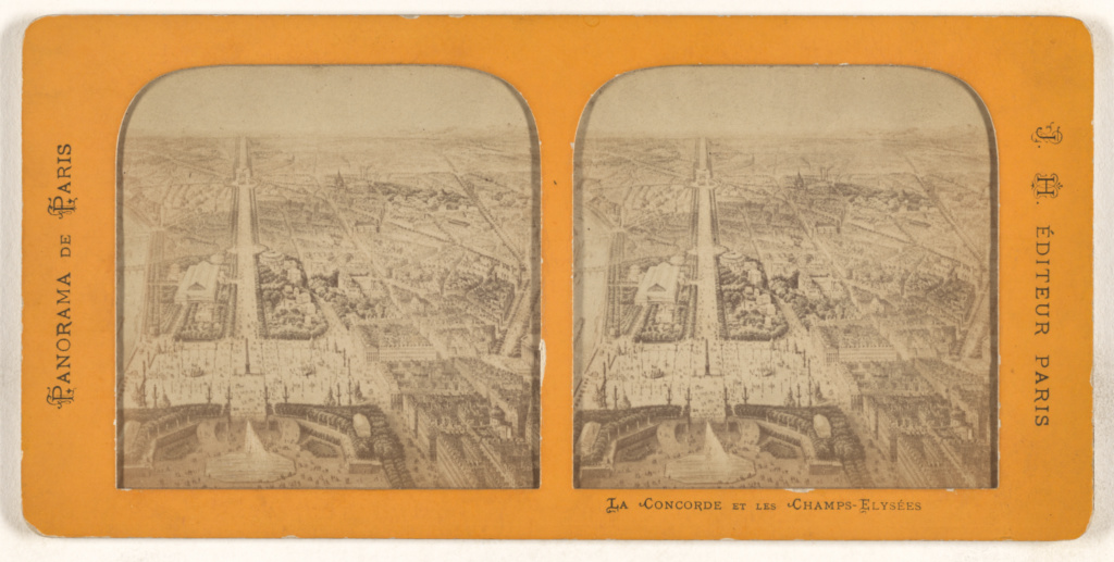 Panorama de Paris. La Concorde et Les Champs-Elysees.; J. H. (French, active 1870s - 1880s); 1860s; Hand-colored albumen silver print; 84.XC.979.10046; Gift of Weston J. and Mary M. Naef; Rights Statement: No Copyright - United States
